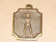 """Vintage Lrg Womens Softball Girl Holding Bat Embossed Brass Medal Pendant 1.75"""""""