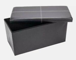 Storage OTTOMAN STORAGE box Faux Leather Pouffe Double size Black