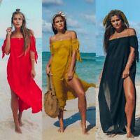 Fashion Holiday Beach Off Shoulder Boho Maxi Long Cover Up Print High Slit Dress