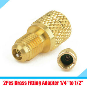 """2Pcs Auto Car A/C R134a Brass Fitting Adapter 1/4"""" Male to 1/2"""" Female Connector"""