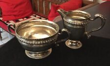 QUALITY ANTIQUE HM STERLING SILVER CREAMER MILK JUG AND SUGAR BOWL MAPPIN & WEBB