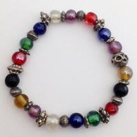 Colorful Glass and Silver Bead Stretch Bracelet