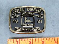 John Deere Waterloo SECURITY BELT BUCKLE Employee ONLY RARE 1991 Original
