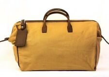 Mulholland brothers canvas/leather taupe large doctors-style bag w/ luggage tag
