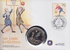 BRD Numisbrief 5 Dollar Niue 100 Jahre Baketball 1991, dt. Sporthilfe