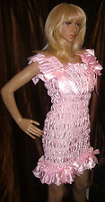 Prissy Sissy Maid Adult Baby CD/TV Shiny Faux Satin Baby Pink Wiggle Dress
