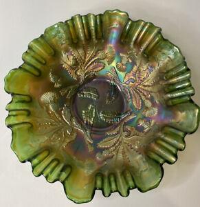 "Fenton Green Thistle Carnival Glass Ruffled Rim Bowl Dish 8"""