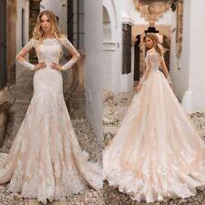 Champagne Mermaid Lace Wedding Dresses Appliques Off Shoulder Beach Bridal Gowns
