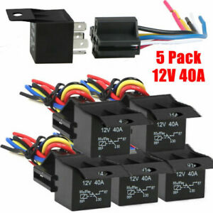 5pcs Relay Wire Harness Socket SPDT 5Pin 12V 30/40Amp Automotive Car Relays Kit