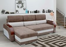 NEW Corner Sofa Bed with two storages in Brown and Beige Soft Fabric.