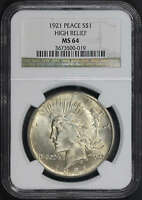 1921 Silver Peace Dollar High Relief NGC MS-64 -141416