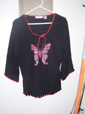 Extra Touch Sportswear black long sleeve shirt red edging, butterfly 1x, sheer
