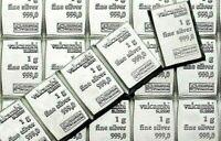 10 X 1 GRAM 999 FINE SILVER VALCAMBI SUISSE BULLION BARS! 10 BARS!