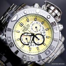 Invicta Sea Hunter II 70mm Pineapple Yellow Steel Chrono Swiss Mvt Watch New