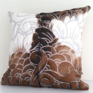 Genuine leather cover + cushion real fur hide hand carved pattern Save RRP$249