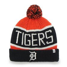 Detroit Tigers - Logo Calgary Black and Orange Pom Pom Beanie Hat Knit Cap