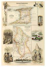 Old Vintage Decorative Map of British Guyana Trinidad Fullarton 1872
