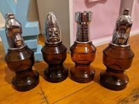 4 Vintage Avon Aftershave Bottles Chess Pieces 2 Horse 1 Castle 1 King EMPTY