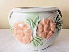 PARK ROSE BRIDLINGTON POTTERY WHITE PINK GREEN FLORAL BOWL PLANTER