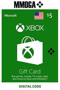 Xbox Live Gift Card 5 USD - $5 US Dollars USA Microsoft One 360 Guthabn Code
