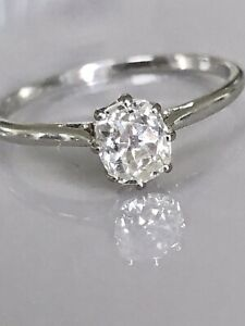 Outstanding 0.70 Old Mine Cushion Cut Solitaire Diamond Ring Platinum Not 18ct