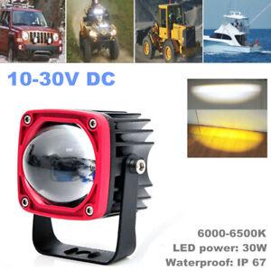 """1PCS 2"""" 30W Car LED Square Spot Light Super Bright Yellow & White Color Fog Lamp"""