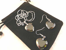 Austrian Crystals 18k White Gold Plated Peridot Heart Necklace & Earrings Set