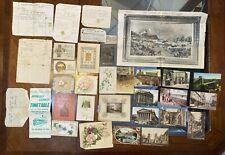 Ephemera Lot Postcards Greeting Cards Receipts