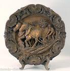 ASSIETTE RUSTIQUE DECORATIVE, 23,5 cm, le laboureur, chevaux, charrue