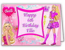 Personalised Birthday Card With Barbie Design Print - Any Name & Age