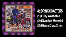4  x   THE PHANTOM RIDING HIS HARLEY DAVIDSON MOTORCYCLE, DRINK COASTERS
