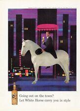 1958 White Horse Scotch Whisky Man in Tuxedo on White Horse PRINT AD