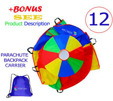 Kids Play Parachute With Extra Strong Smudge Resistant Handles 12 FT Girls Boy