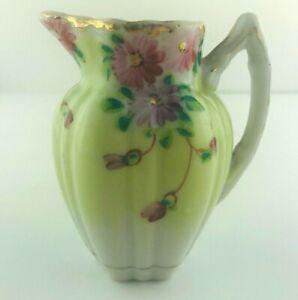 "Vintage Porcelain Mini Creamer Green with Pink Purple Flowers Gold Trim 3.5"" H"