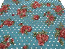 Stoff Ital. Musterwalk Kochwolle Relief Blumen Punkte blau-türkis rot grün weiß