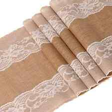 """Ling's moment 12""""x108"""" Burlap Lace Table Runner Country Vintage Wedding Decorati"""
