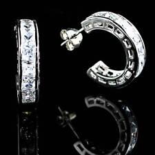 Post Earrings_925 Sterling Silver - Nf *Open Hoop* Princess Cut All Clear Cz