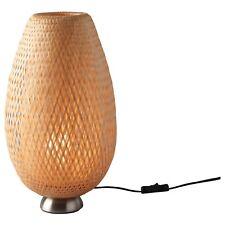 IKEA BÖJA Table Lamp Nickel-Plated Bamboo Handmade Shade