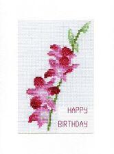 Dendrobium Orchid Stem - Happy Birthday Cross Stitch 6x8 A5 White Card Kit 14Ct