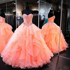 Coral Ball Gown Quinceanera Dresses Layers Organza Beading Prom Party Dresses