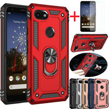 For Google Pixel 3a/4 XL Shockproof Magnetic Ring Stand Hard Case+Tempered Glass
