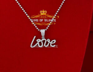 10K White Gold Finish 925 Silver Cubic Zirconia Mother's day LOVE Pendant