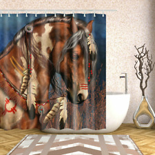 Brown Horse Fabric Shower Curtain Set 12 Hooks Waterproof Bathroom Decor 71in
