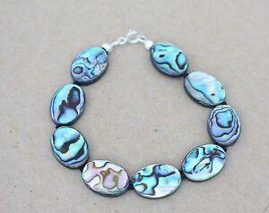"Paua Abalone Perlmutt Armband ,20 cm"" Silber;18 x13 mm (LN-11)"