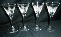 """SET OF 4 CORDIALS CUT GLASSES 4 1/4"""" TALL"""