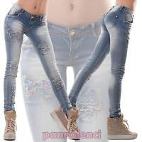 Jeans donna pantaloni elasticizzati farfalle skinny strappi fiori nuovi M9938