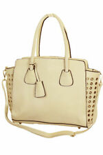 Womens Tote Hobo Shopper Shoulder Bag Handbag With Gold Eyelets Light Beige NEW