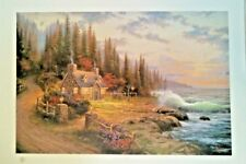"""Thomas Kinkade Pine Cove Cottage 22""""× 31"""" Numbered Lithograph Hand signed"""