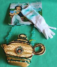 Disney Park Princess Jasmine Child Aladdin Lamp Purse Gloves Set Costume New