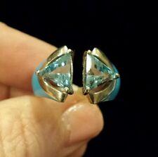 OMAR TORRES Trillion-Cut BLUE TOPAZ and ENAMEL Ring, Size 8, STERLING SILVER